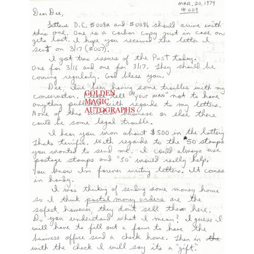 DAVID BERKOWITZ - 2 PAGE SIGNED LETTER