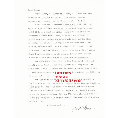 WILLIAM HEIRENS - TYPED LETTER SIGNED