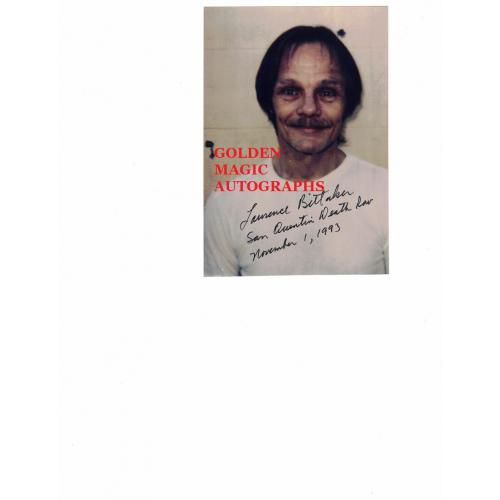LAWRENCE BITTAKER Signed and dated DEATH ROW PHOTO