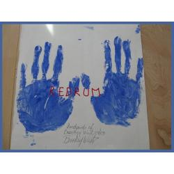 Brookey West original handprints on cardboard in blue paint signed from 2008