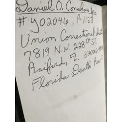 Daniel Conahan personal New Testament bible from Union Correctional Institution Florida