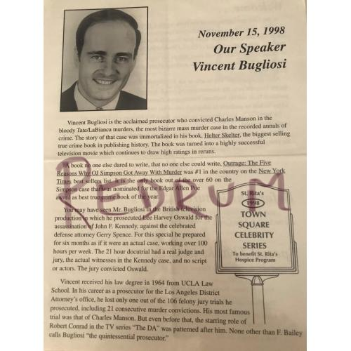 Vincent Bugliosi speech brochure 4 pages copy from the 1990's