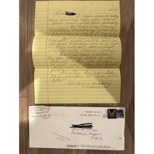 Deceased Dorothea Puente handwritten Christmas letter with original envelope from 2006