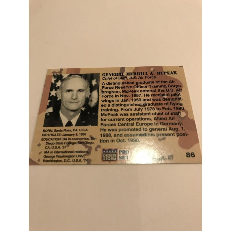 General Merrill A. McPeak Desert Storm card no. 86 from 1991