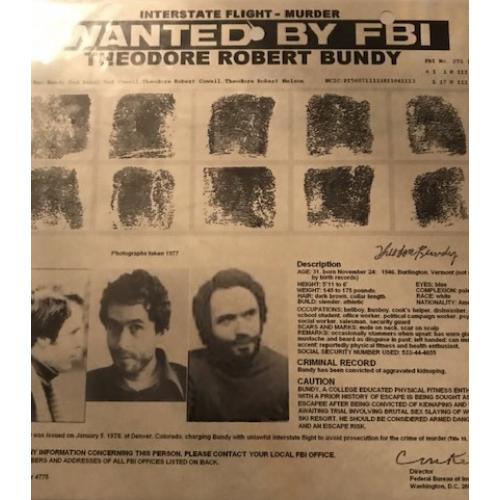 Theodore Bundy  8 x 8 Wanted by the FBI poster issued in 1978