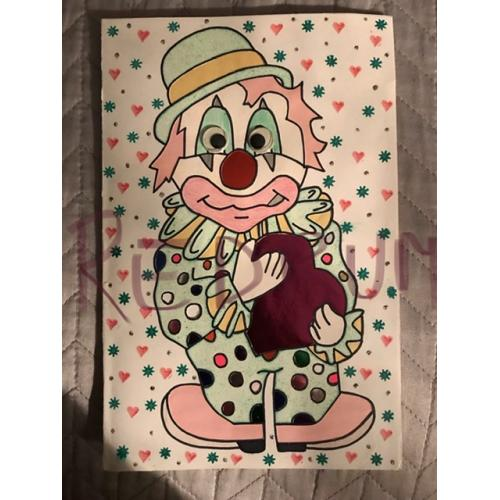 Bobby Joe Maxwell handcrafted 3D clown card with moving eyes From 1996