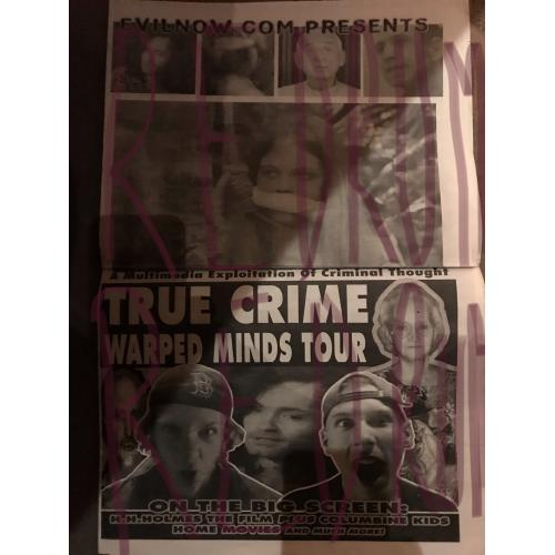 True Crime Wrapped Minds Tour Newspaper early 2000
