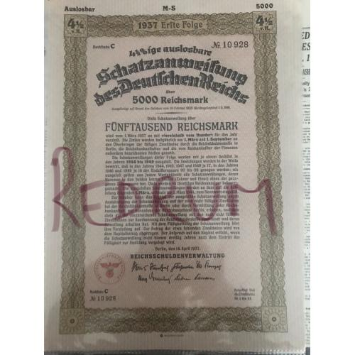 Original German WwII stock bond 5000 Reichsmarks from 1937