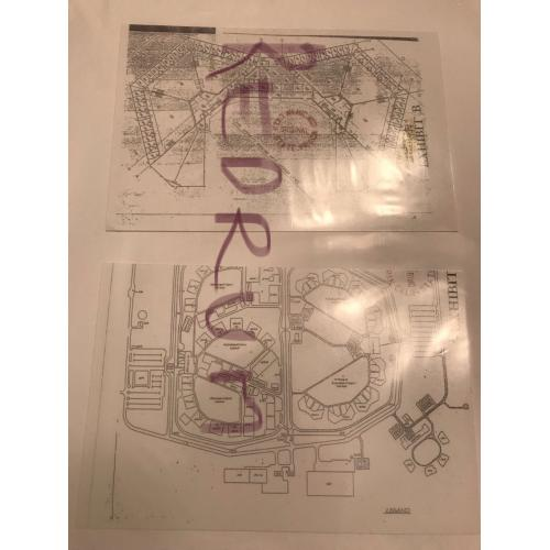Charles Manson Prison photograph and blueprint sent to a penpal 1990's