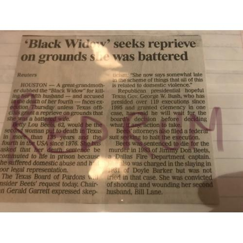 Bettie Beets Execution Newspaper Clipping from 2000