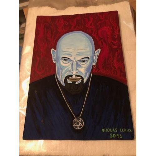 NICO CLAUX PAINTING/PORTRAIT OF ANTON LAVEY - CHURCH OF SATAN