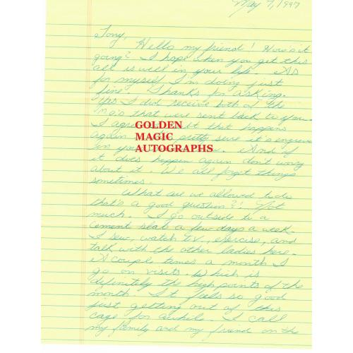 CYNTHIA COFFMAN - SIGNED LETTER