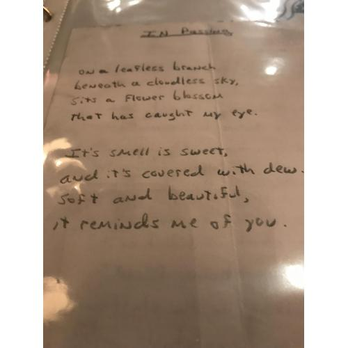Michael Johnson handwritten final poem before commiting suicide on October 2006