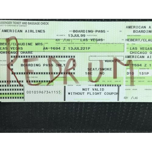 American Airlines complete ticket green boarding pass from 1999