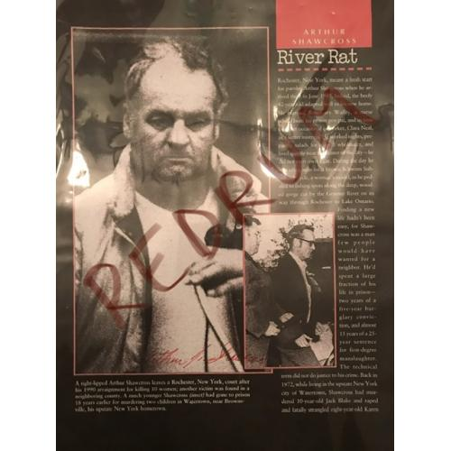 Arthur John Shawcross 8 x 11 Bio sheet signed in red from 2007