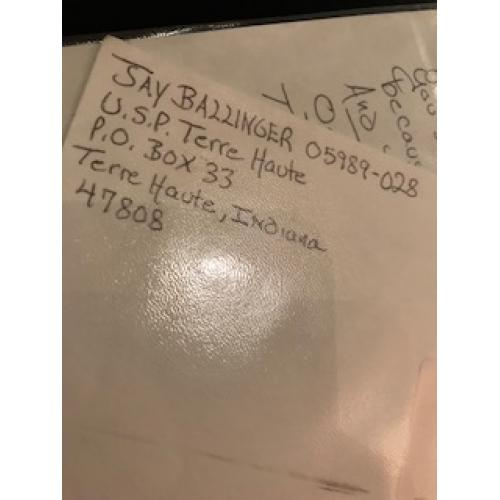 Jay Scott Ballinger original handwritten envelope with numerous lines penned in his hand from 2012