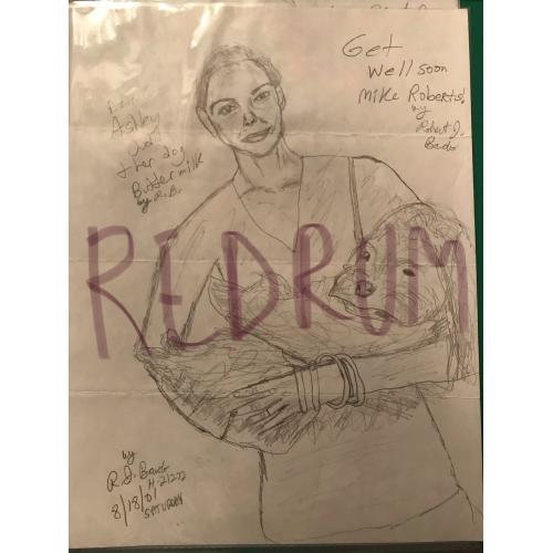Robert J. Bardo portrait of Ashley Judd and her dog from Garfield dated from 2001