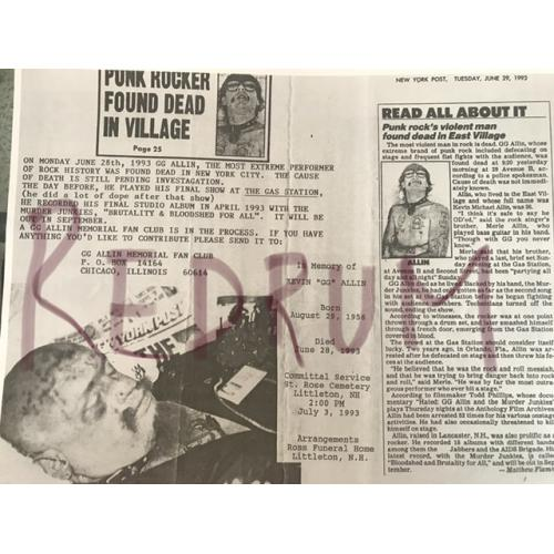 GG Allin memorial fan club 2 pages originally sent by John Gacy in 1993
