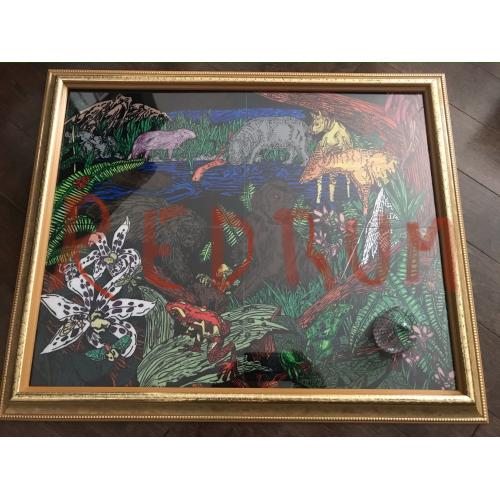 Arthur John Shawcross The Genessee River Killer 16 x 20 jungle acrylic painting on plexiglass from 2005