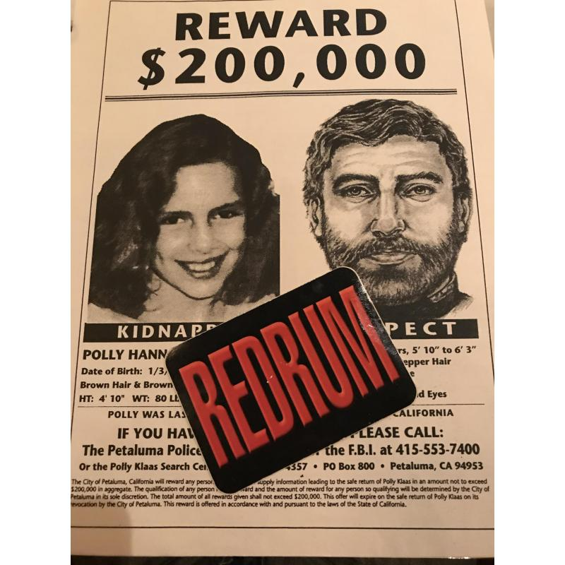 Reward poster 8.5 x 11 Polly Hannah Klaas kidnapping from 1993
