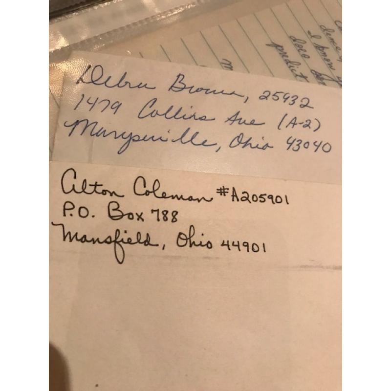 Deceased- Alton Coleman and Debra Brown handwritten envelopes set signed in full from 1996