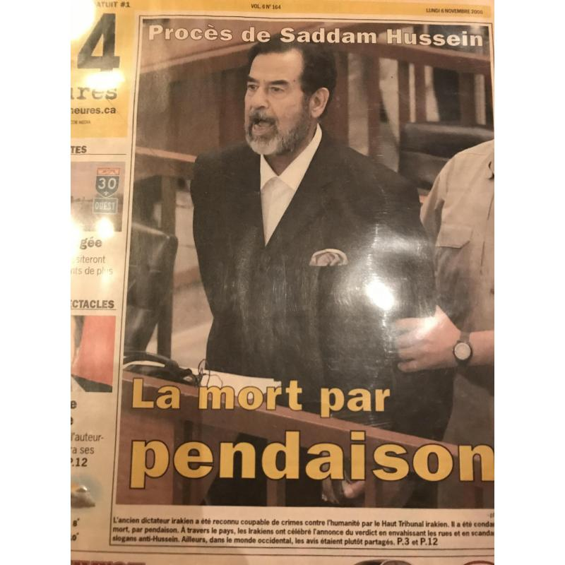 Saddam Hussein original French  newspaper receiving death by granting sentence from 2006