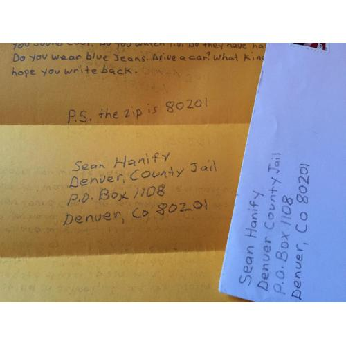 SERIAL KILLER SEAN HANIFY HANDWRITTEN LETTER   ENVELOPE SET