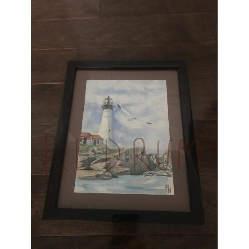 Roy L. Norris watercolor lighthouse painting in 8 x 10 frame from 2008