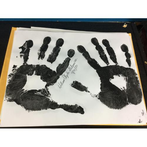 William Clyde Gibson Handprints, Death Row Inmate, Signed.