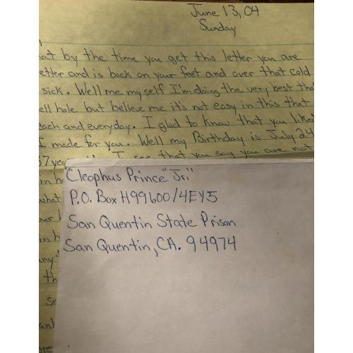 CLEOPHUS PRINCE 1 PAGE HANDWRITTEN LETTER + ENVELOPE