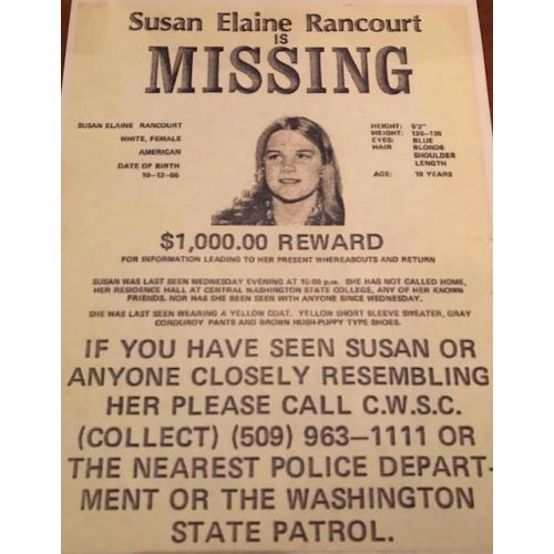 Susan Elaine Rancourt 8.5 x 11  missing poster from 1974