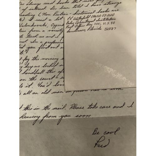 FRED WATERFIELD HANDWRITTEN LETTER + ENVELOPE