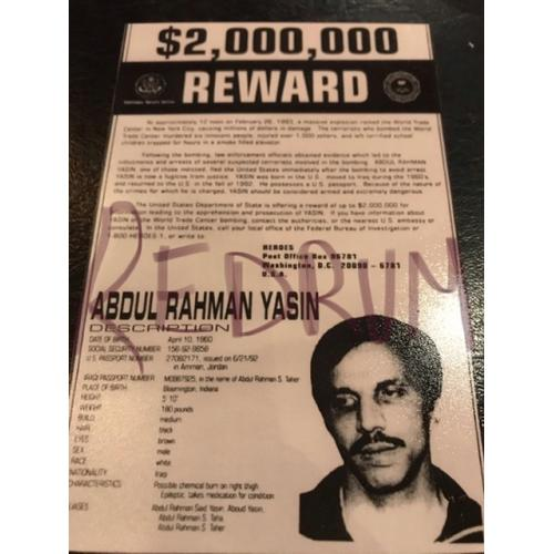 Abdul Rahman Yasin 4 x 6 Reward poster World Trade Center 1993