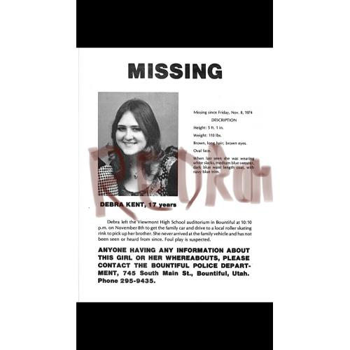 Debra Kent 8.5 x 11 Missing poster victim of Ted Bundy from 1974