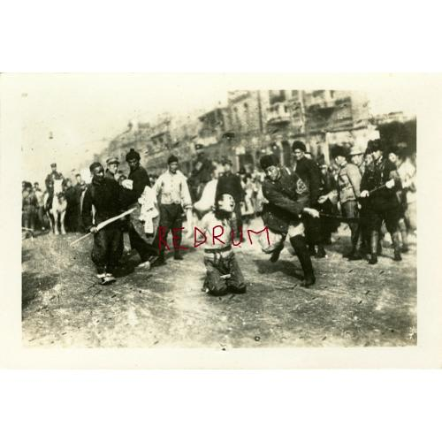 Execution by sword in China beheading early 1900's b & w photograph