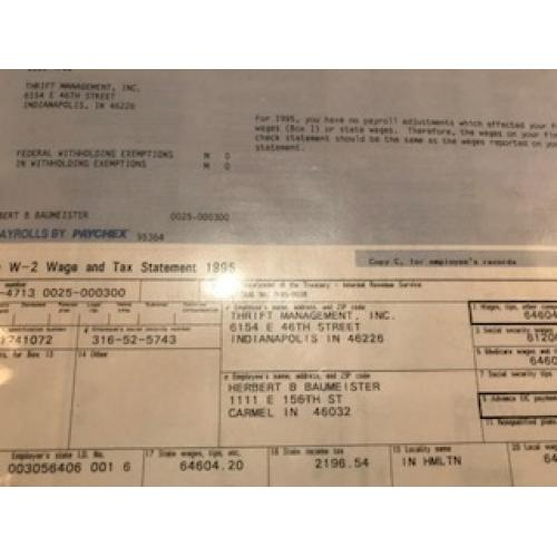 Deceased - Herbert Baumeister employee W-2 wage summary from 1995