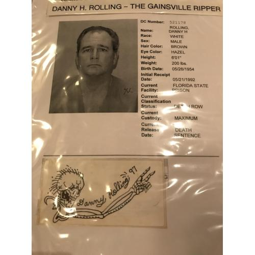 Executed - Danny Rolling Rare sticker ink self portrait skeleton artwork from 1997