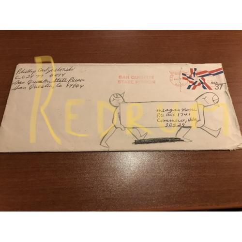 Phillip Jablonski handwritten envelope with artwork from 2005