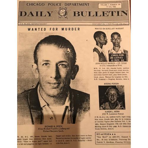 Richard Speck Reprinted Chicago Police Department Daily Bulletin Wanted for Murder poster from 1966