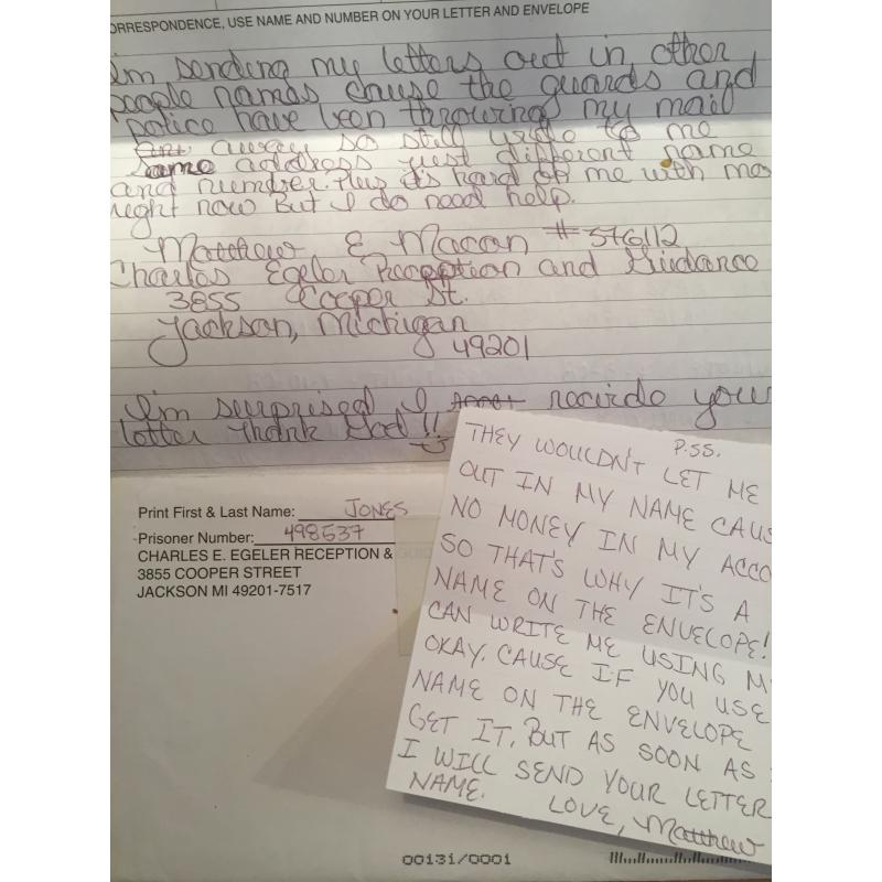 SERIAL KILLER MATTHEW MACON 5 PAGE HANDWRITTEN LETTER WITH NOTE & MAILING ENVELOPE