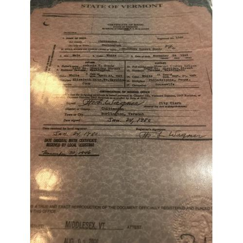 Theodore Robert Bundy 8.5 x 11 birth certificate color copy from the State of Vermont