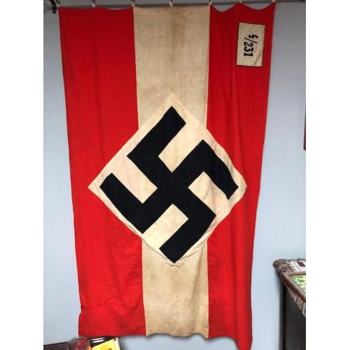 WW2 HITLER YOUTH FLAG WITH ORIGINAL MAILING TUBE!