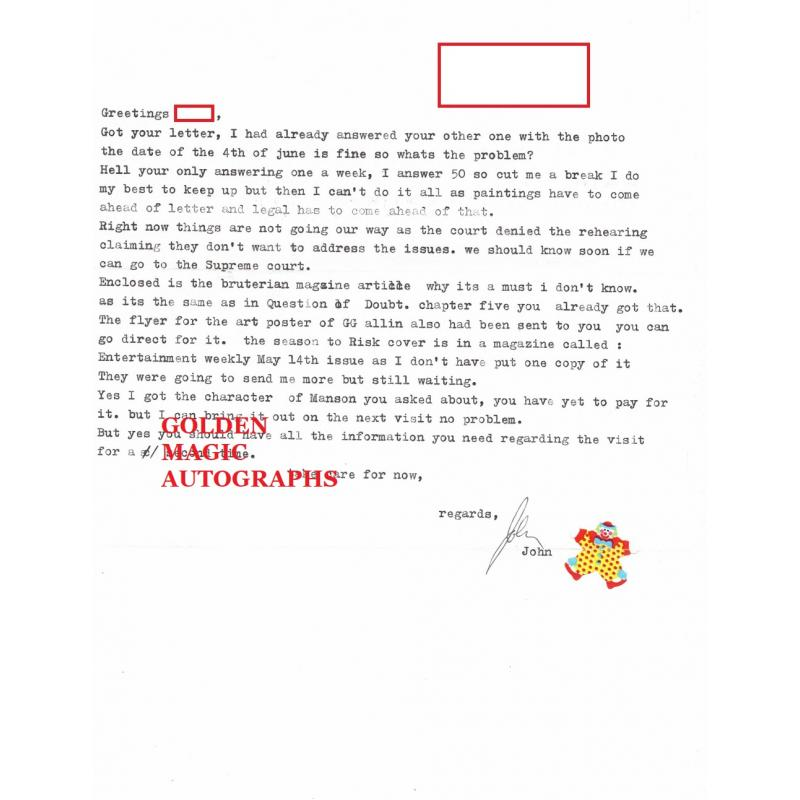JOHN WAYNE GACY SIGNED AND DATED ONE PAGE LETTER AND ENVELOPE