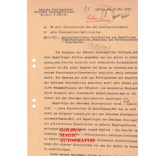 REINHARD HEYDRICH SIGNED DOCUMENT