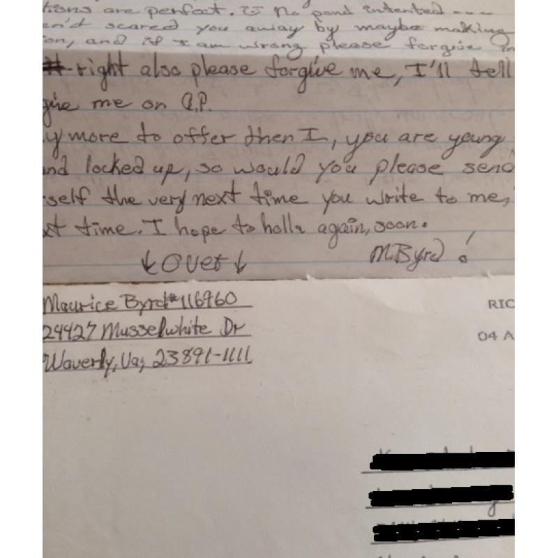SERIAL KILLER MAURICE BYRD HANDWRITTEN 4 PAGE LETTER   ENVELOPE