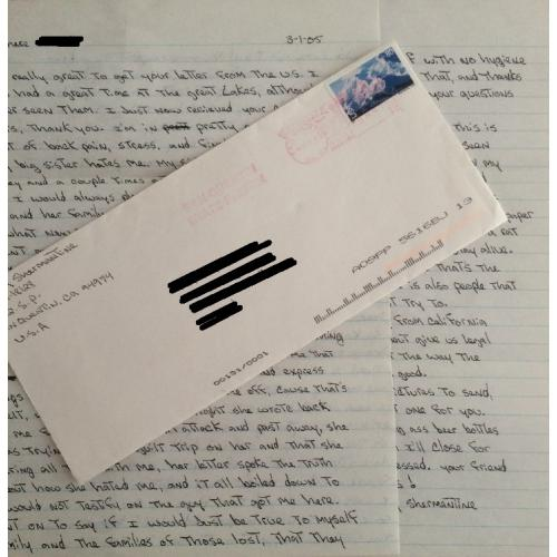 HANDWRITTEN 2 PAGE LETTER/ENVELOPE FROM SPEED FREAK KILLER WESLEY SHERMANTINE