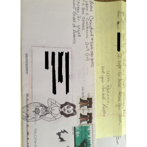 SERIAL KILLER ANDRE CRAWFORD HANDWRITTEN LETTER/ENVELOPE (WITH BLOODY ART) AND JAIL INFO SHEET (COUNTY JAIL 2008)