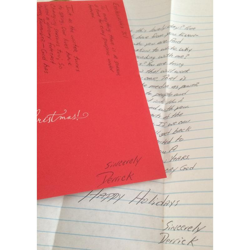 DECEASED SERIAL KILLER DERRICK TODD LEE HANDWRITTEN CARD/LETTER/ENVELOPE - FREE SHIPPING WORLDWIDE