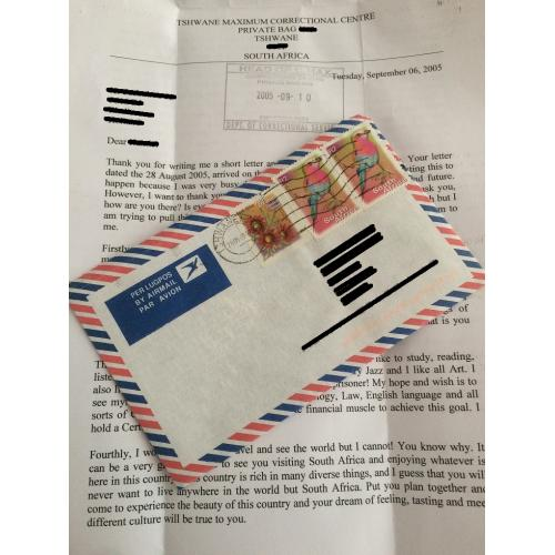 SOUTH AFRICAN SERIAL KILLER MOSES SITHOLE 2 PAGE LETTER/ENVELOPE - FREE SHIPPING WORLDWIDE