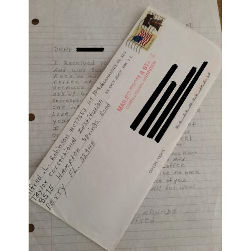SERIAL KILLER ALFRED ROBINSON HANDWRITTEN LETTER/ENVELOPE